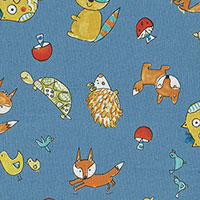 Tecido - Little Animals 02 - Animals and Chevron