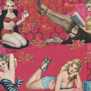 Tecido - Mulheres Pin Up - Multi Cores